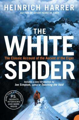 The White Spider by Heinrich Harrer book cover with man in orange clothes climbing a snow covered mountain