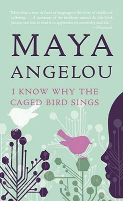Book set in Arkansas, I Know Why The Cage Bird Sings by Maya Angelou, light green book cover with a pink bird, geometric plants, and a shadow of a half-face