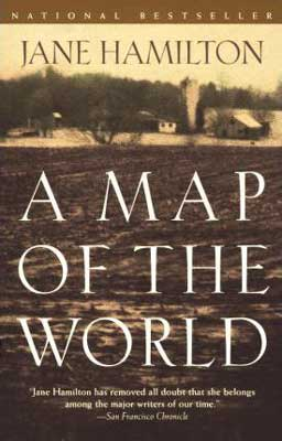 50 States reading list, A Map of the World by Jane Hamilton, book cover with farmland and houses