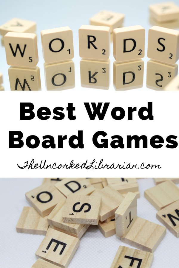 Best Word Games pinterest pin with scrabble letter tiles spelling out 'words'