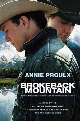 50 States Books Set In Wyoming, Brokeback Mountain by Annie Proulx, book cover with two men wearing cowboy hats with mountains behind them