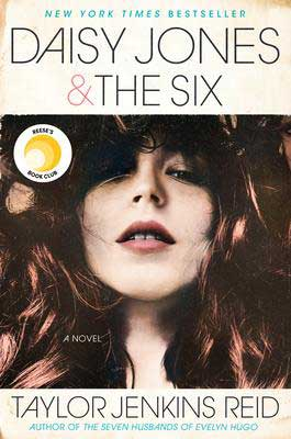 Daisy Jones & The Six by Taylor Jenkins Reid book cover with red-haired woman's face with bangs