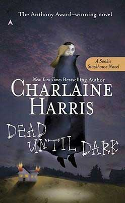 50 States Books Set in Louisiana, Dead Until Dark by Charlaine Harris, book cover with blonde woman flying over a burning home with a vampire