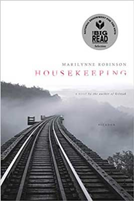 American Books Set In Idaho, Housekeeping by Marilynne Robinson, book cover with gray and white train tracks and fog