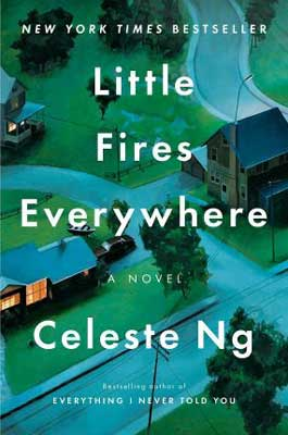Little Fires Everywhere by Celeste Ng book cover with blue and green streets in Ohio neighborhood