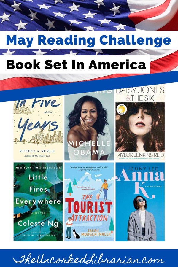 May 2020 Book Discussion Reading Challenge Pinterest pin with book covers for In Five Years, Becoming, Daisy Jones & The Six, Little Fires Everyone, and Anna K