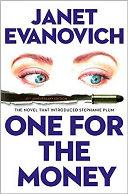 Books Set in New Jersey, One For The Money by Janet Evanovich, book cover with blue eyes watching a bullet go by