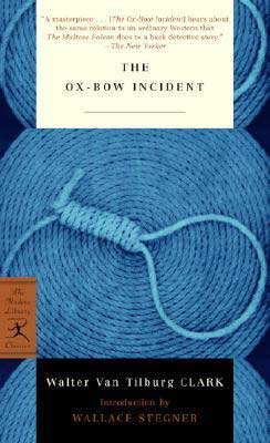 Books set in Nevada, The Ox-Bow Incident by Walter Van Tilburg Clark, book cover with bright blue hanging noose