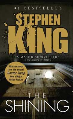 Book Set In Colorado, The Shining Stephen King, book cover with light shining out of a hotel door