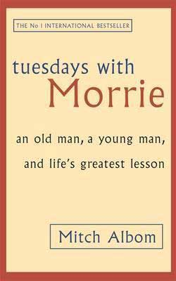 Tuesdays With Morrie by Mitch Albom tan and red book cover with no pictures