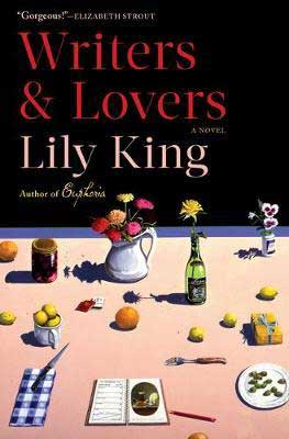 Currently reading book review, Writers & Lovers by Lily King, book cover with fruits, flowers, and utensils on a pink table