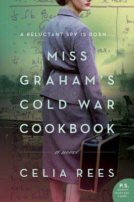 Miss Graham's Cold War Cookbook by Celia Rees book cover with woman wearing a purple skirt and jacket carrying luggage