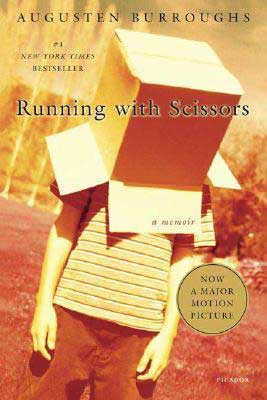 Running With Scissors by Augusten Burroughs book cover with young kid wearing a cardboard box over his head