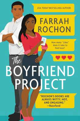 The Boyfriend Project by Farrah Rochon book cover with man and woman touching backs to each other