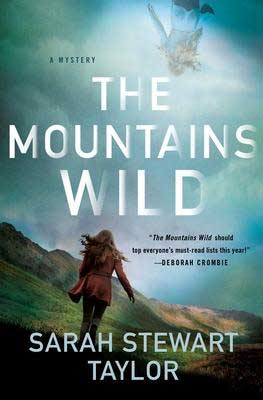 The Mountains Wild by Sarah Stewart Tyler book cover with woman walking across the side of a mountain