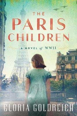 The Paris Children by Gloria Goldreich book cover with young girl in a green dress in front Eiffel Tower