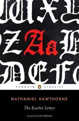 The Scarlet Letter by Nathaniel Hawthorne book cover with the alphabet in white except for a red A