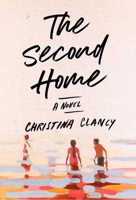 The Second Home by Christina Clancy book cover with three people in the water on the beach