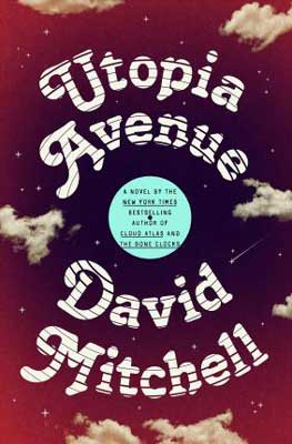 Utopia Avenue by David Mitchell maroon book cover with clouds