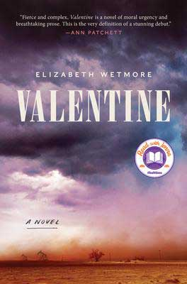 Valentine by Elizabeth Wetmore book cover with purple and blue clouds over a dusty field