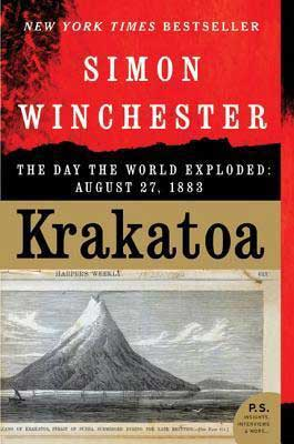 Krakatoa by Simon Winchester book cover with black and white picture of the volcano