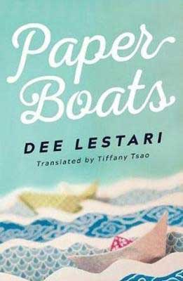 Paper Boats by Dee Lestari book cover with paper boats on a paper sea